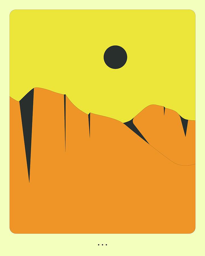 Minimal Digital Art - Minimal Landscape 16, Desert Mountains by Jazzberry Blue