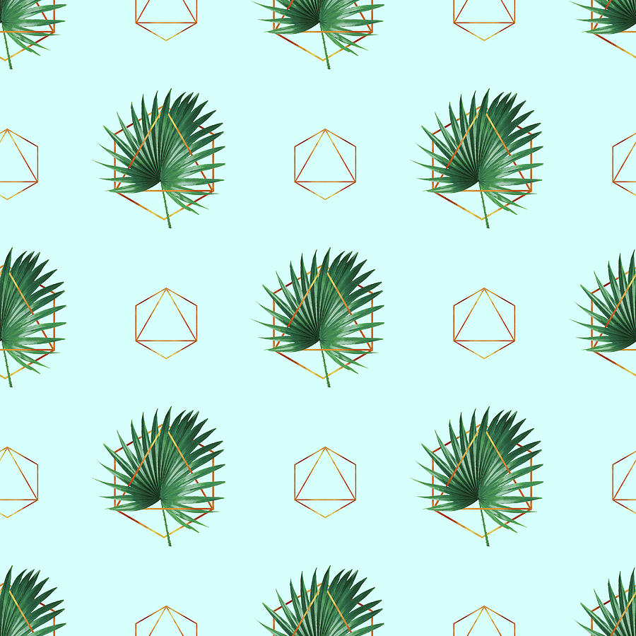 Minimal Tropical Palm Leaf - Palm And Gold - Gold Geometric Pattern 3 - Modern Tropical Wall Art Mixed Media