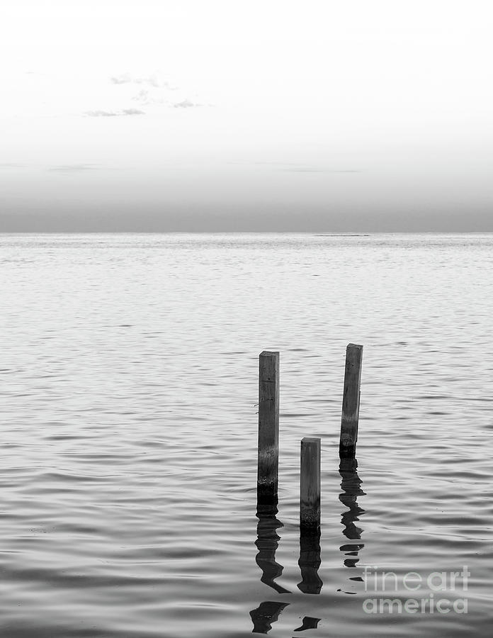 Minimalist Ocean Landscape Black and White by Tim Hester
