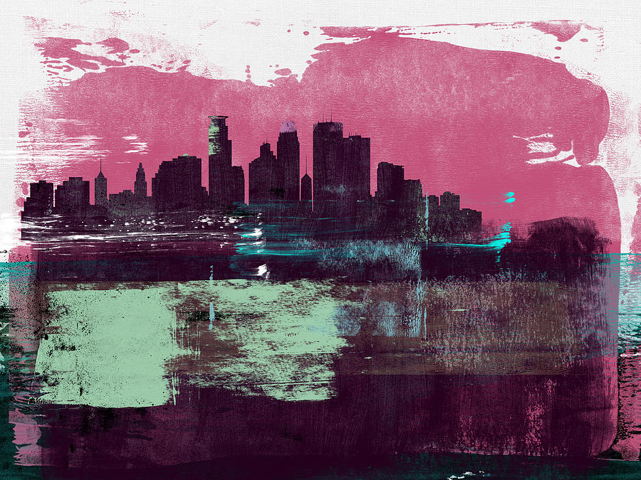 Minneapolis Mixed Media - Minneapolis Abstract Skyline I by Naxart Studio