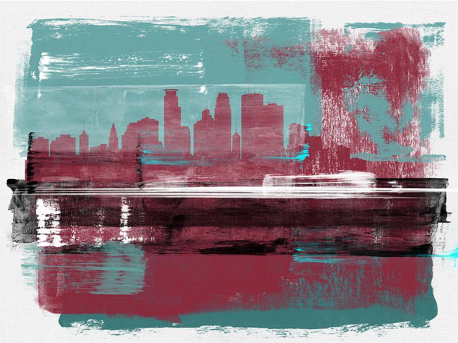 Minneapolis Mixed Media - Minneapolis Abstract Skyline II by Naxart Studio