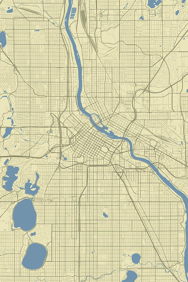 Minneapolis Minnesota Usa Classic Map