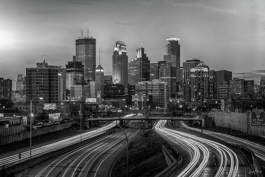 Minneapolis Skyline Black and White Signed by Karen Biwersi
