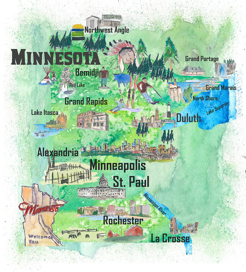 Minnesota Usa State Illustrated Travel Poster Favorite Tourist Map ...