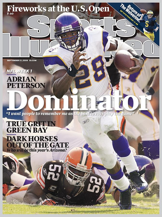 Minnesota Vikings Adrian Peterson... Sports Illustrated Cover Photograph by Sports Illustrated