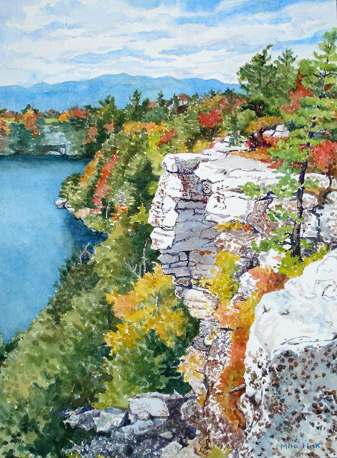 Minnewaska Painting - Minnewaska Fall Cliff by Mira Fink