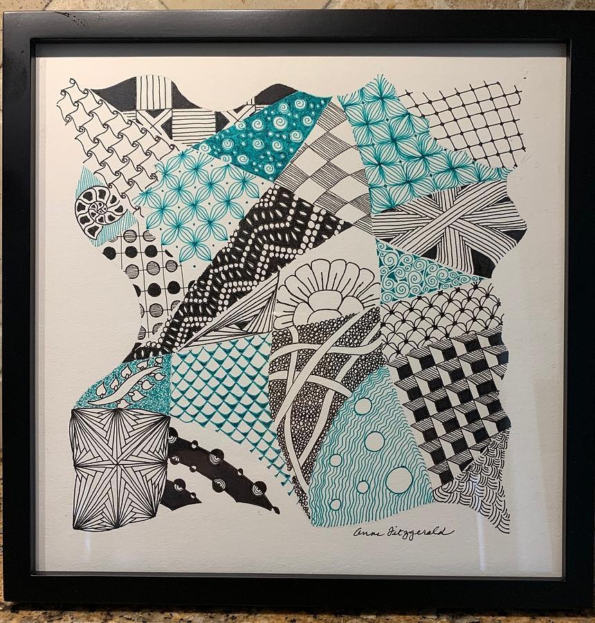 Zentangle Drawing - Mint by Anne Woods