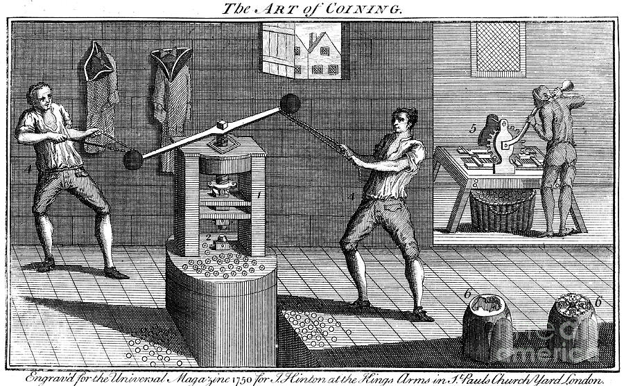 Minting Coins, 1750 Drawing by Print Collector