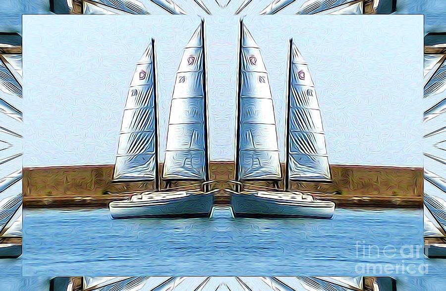 Mirrored Sailboats in Buffalo New York Abstract Effect by Rose Santuci-Sofranko