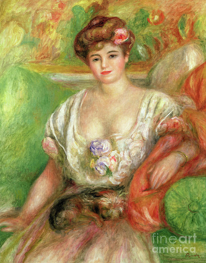 Female Painting - Misia Sert With A Lap Dog by Pierre Auguste Renoir