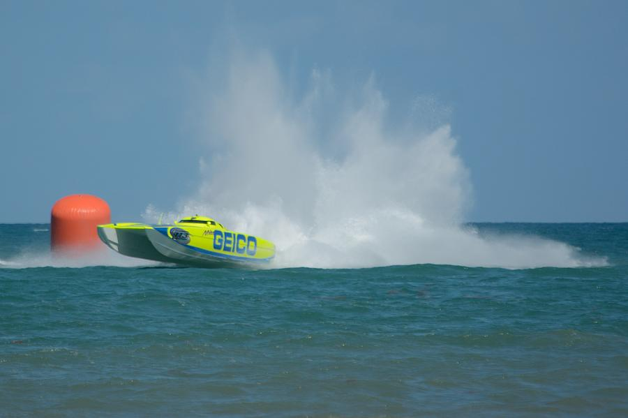 Miss Geico Powerboat at the turn by Bradford Martin