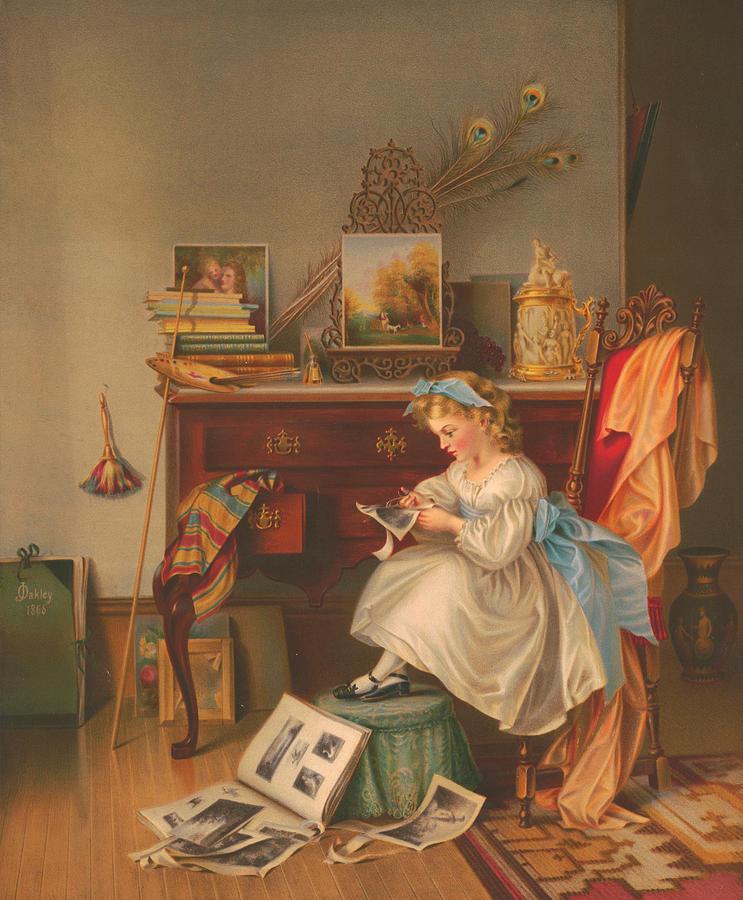 Miss Painting - Miss Oakley Making The Scrapbook 1866 by Zal Latzkovich
