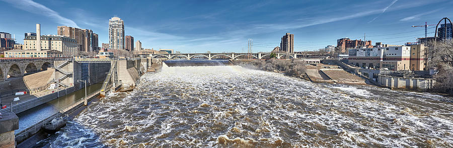 Mississippi River At Flood Stage in Minneapolis by Jim Hughes
