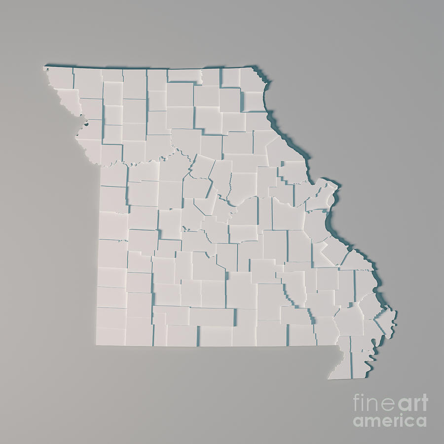 Missouri Us State Map Administrative Divisions Counties 3d Rende ...
