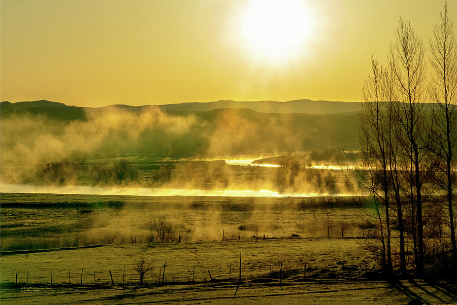 Mist over the River at Dawn by Judi Dressler