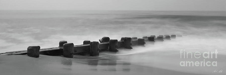 Misty Beach Morning - signed black and white panoramic version by Mark Miller