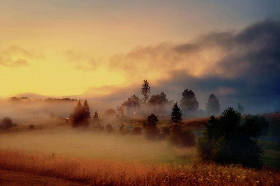 Misty Croatian Village At Dusk Photograph by Steve Coleman (stevacek)