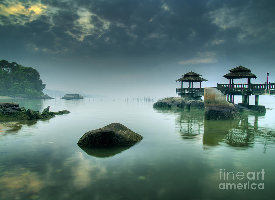 Tide Photograph - Misty Morning As Seen Over Rocks by Lawrence Wee
