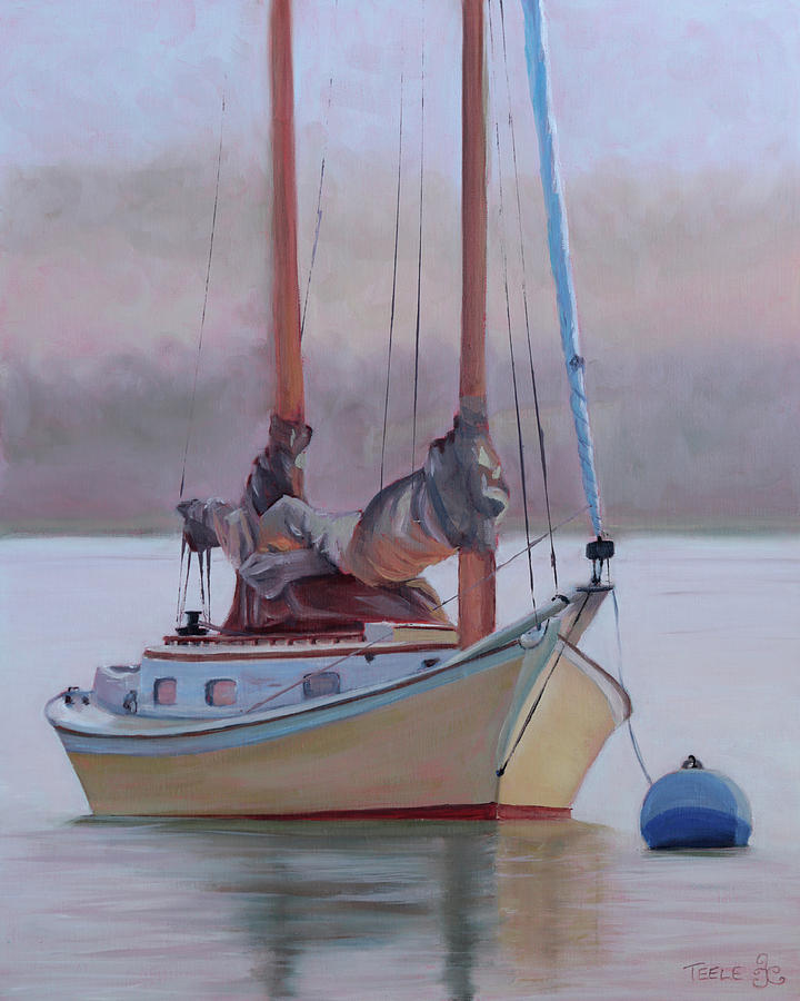 Misty Morning Catboat by Trina Teele
