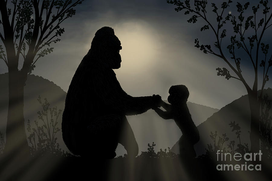 Misty Mountains Moonrise Gorillas by the Ford Family