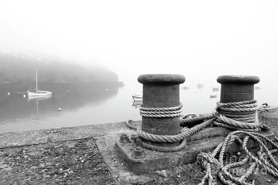 Misty Mylor Moorings In Monochrome Photograph