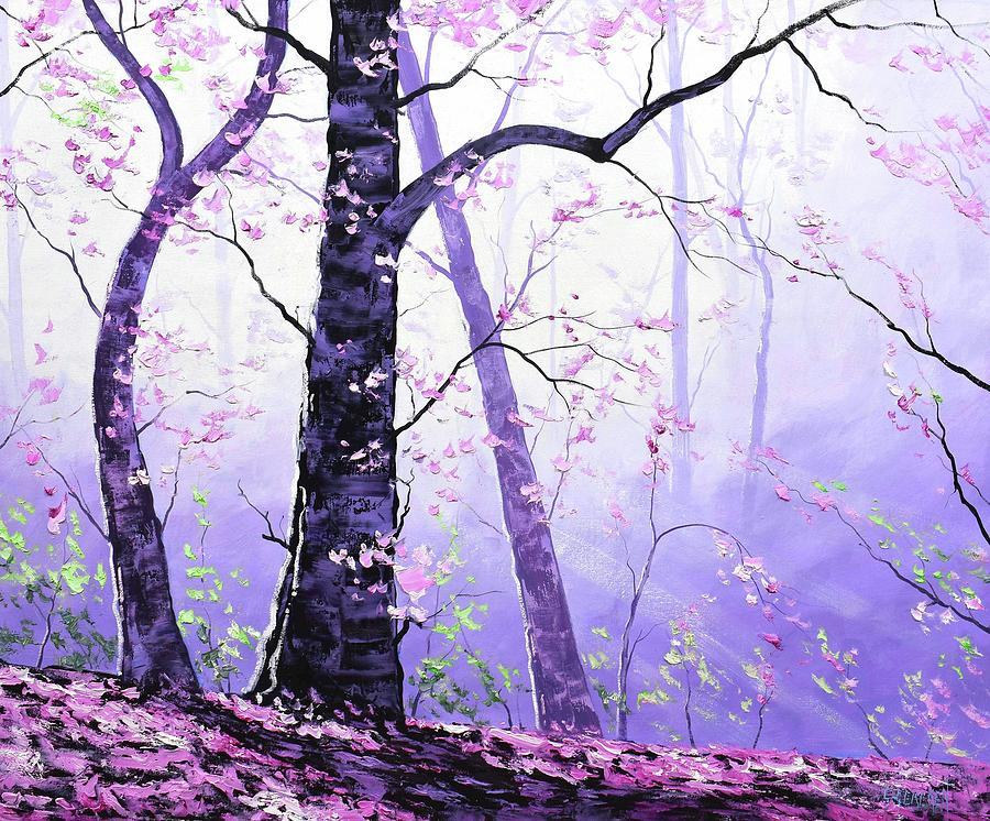 Misty Pink Trees Forest Painting