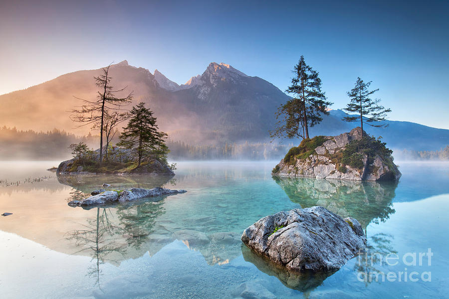 German Photograph - Misty Summer Morning On The Hintersee by Jenny Sturm