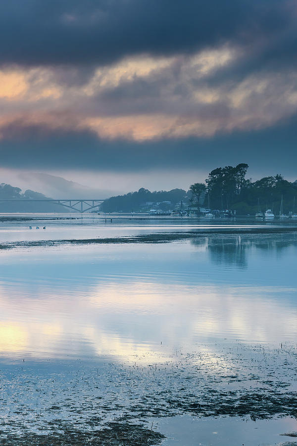 Misty Sunrise Bay Waterscape With Clouds Photograph