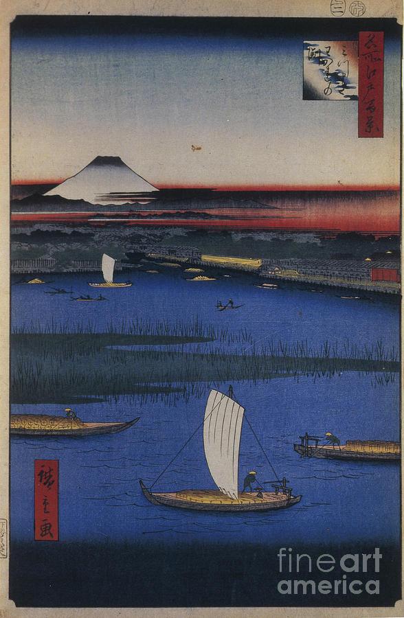 Mitsumata Wakarenofuchi One Hundred Drawing by Heritage Images