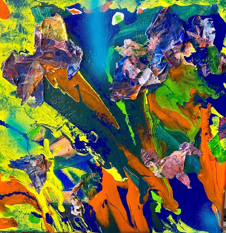 Mixed Media Pour A by Laura Jaffe