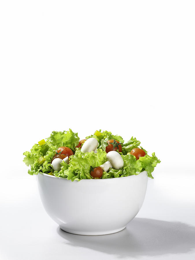 Mixed Salad In A Bowl, White Background Photograph by Domino