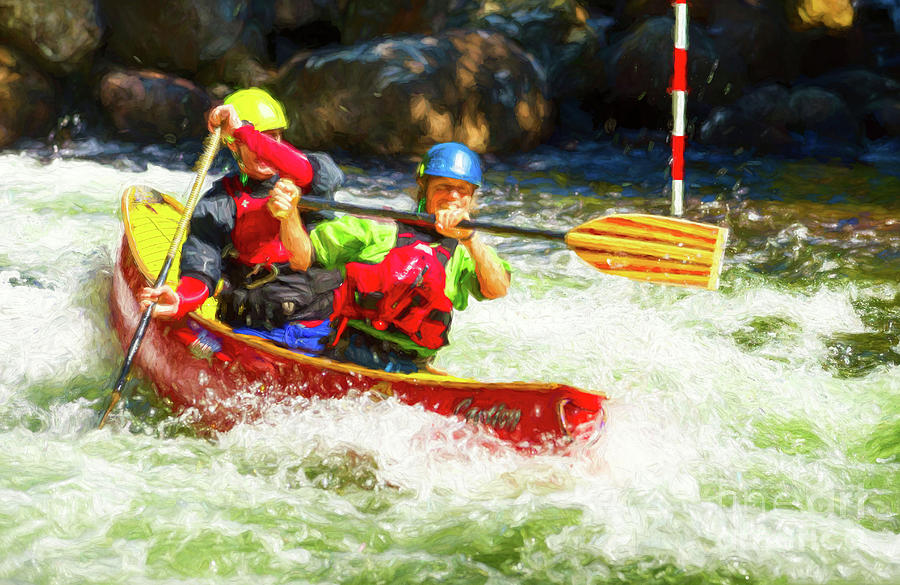 Mixed Tandem Canoe Whitewater Race - Painterly by Les Palenik