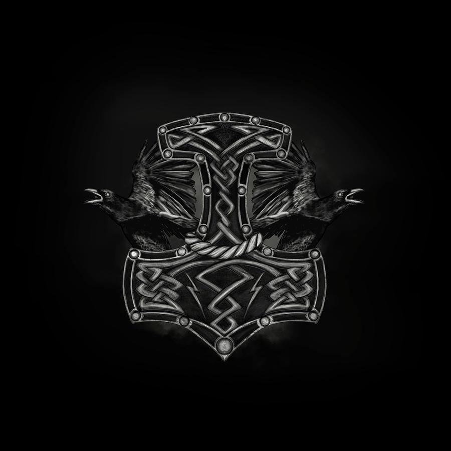 Mjolnir The Hammer Of Thor And Ravens Digital Art By Lioudmila