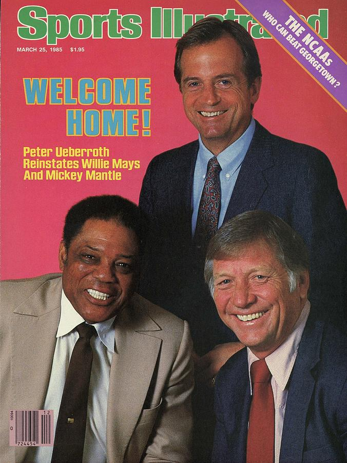 Mlb Commissioner Peter Ueberroth, Willie Mays, And Mickey Sports Illustrated Cover Photograph by Sports Illustrated