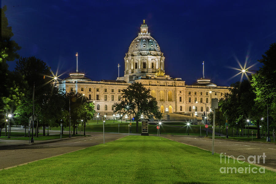 Mn Capitol Building At Night Photograph