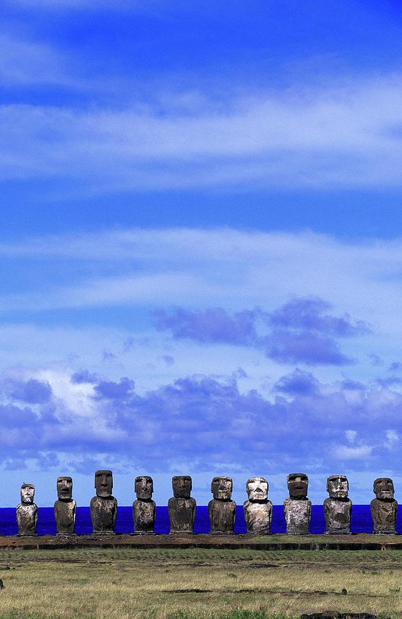 Moai At Ahu Tongariki, Easter Island Photograph by Buena Vista Images