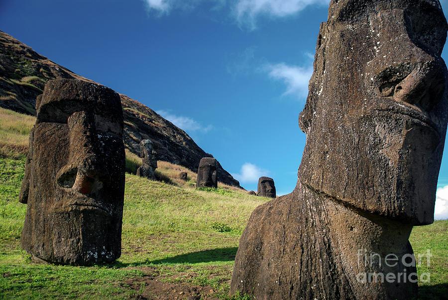 Moai on Easter Island by Jola Martysz