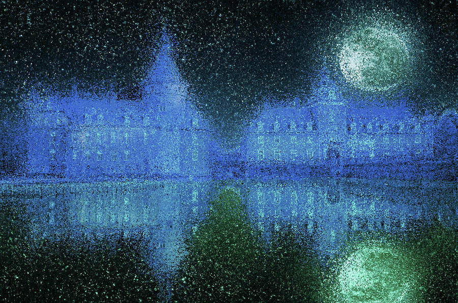 Moated castle on a moonlit night by Alex Mir