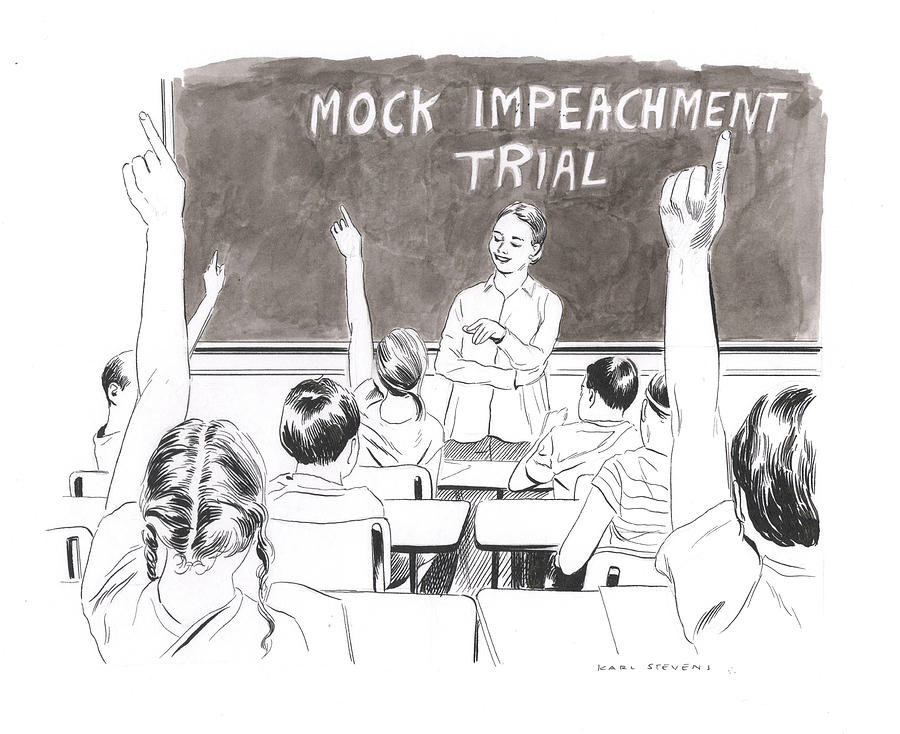 Mock Impeachment Drawing by Karl Stevens