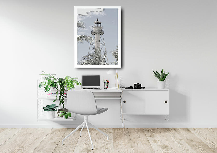 Mock Up Photograph - Mock Up Lighthouse In Home Office by Rosalie Scanlon