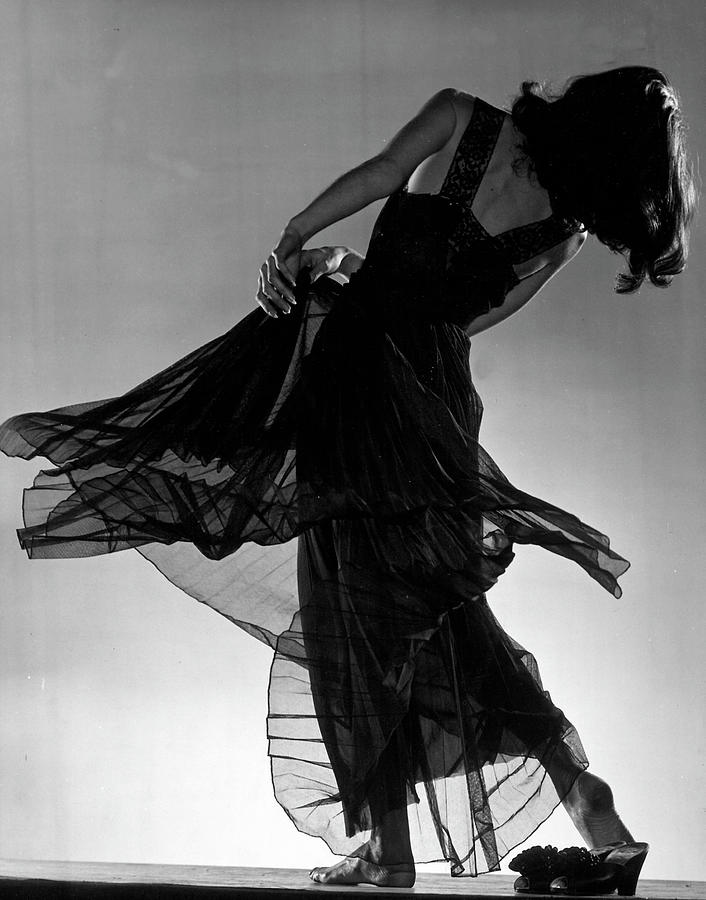 Model Florence Dornin Twirling Around In Photograph by Gjon Mili