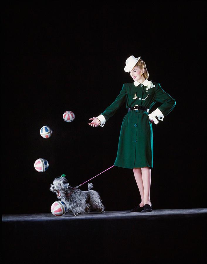 Model In A Green Coat-dress, Photograph by Gjon Mili