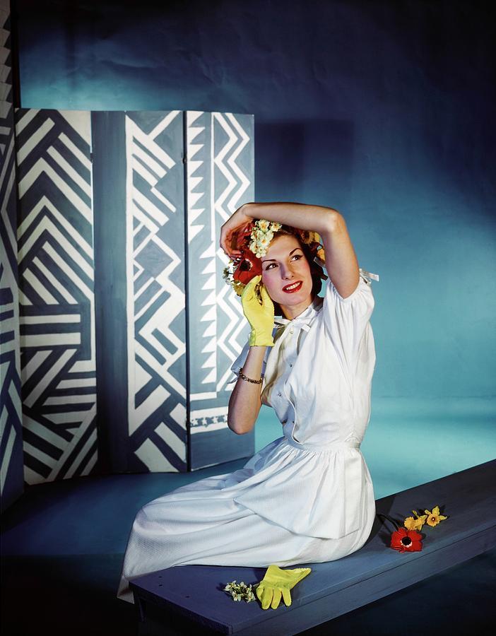 Fashion Photograph - Model In A Henri Bendel Dress by Horst P. Horst