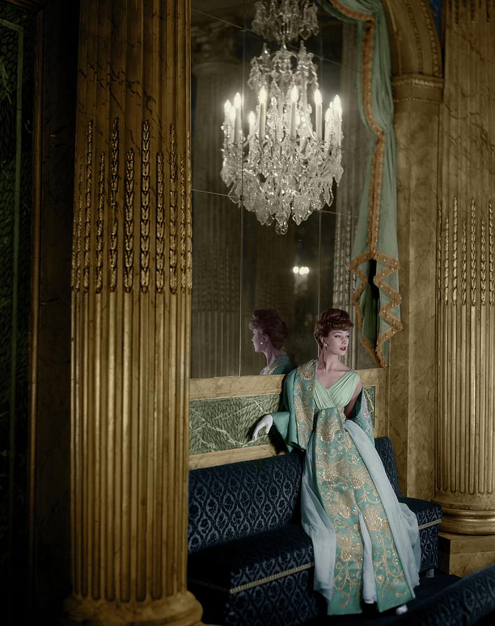 Model In A Lanvin-castillo Dress Photograph by Henry Clarke