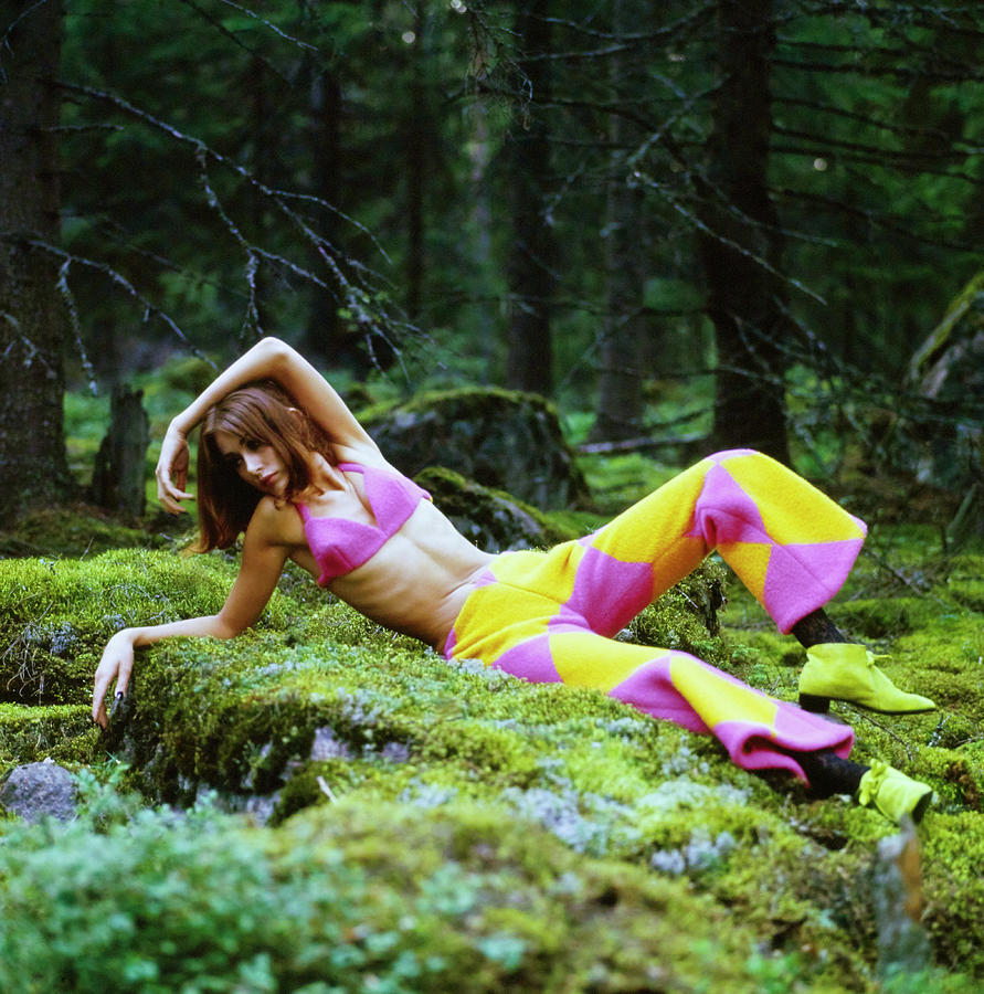 Model In A Pink Bikini Top And Pants In Finnish Forest Photograph by Gordon Parks