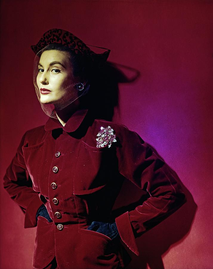 Model In A Red Kraus Jacket Photograph by Horst P. Horst