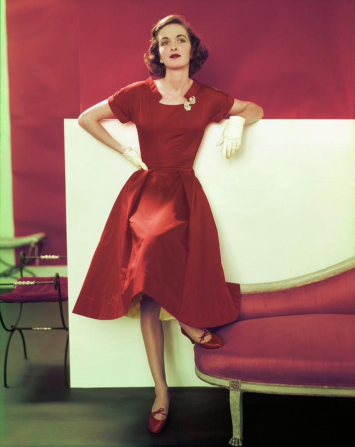 Model In A Vogue Patterns Dress Photograph by Horst P. Horst