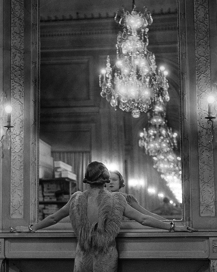 Model In Ostrich Feather-trimmed Gown Pa Photograph by Alfred Eisenstaedt