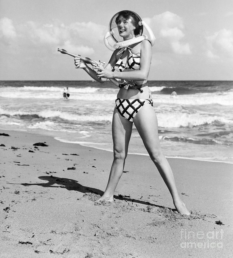 Model In Space Helmet And Bikini, 1952 Photograph by Bettmann