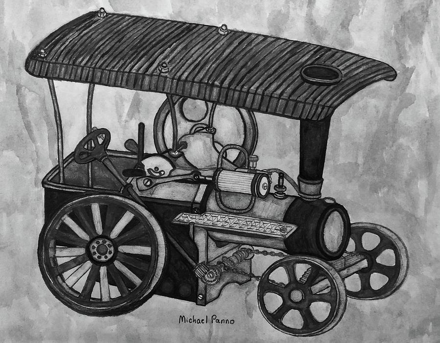 Old Model Steam Tractor Drawing